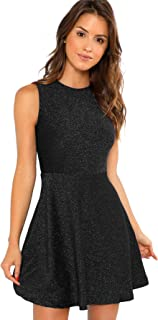 Women's Sleeveless A Line Fit and Flare Glitter Above Knee Party Cocktail Skater Dress