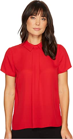 CeCe - Cap Sleeve Textured Pleat Collared Blouse
