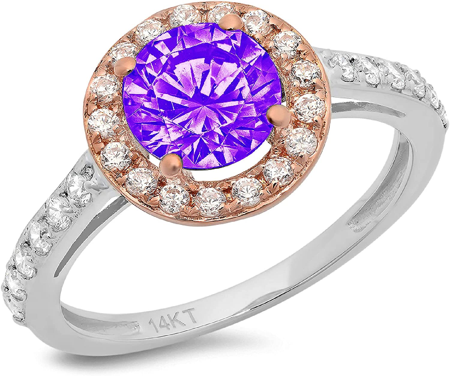 2.34ct Round Cut Solitaire Halo Natural Purple Amethyst Gem Stone Ideal VVS1 Engagement Promise Statement Anniversary Bridal Wedding Accent ring Solid 14k White & Pink Rose Gold