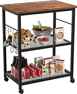 Topfurny Kitchen Baker's Rack, Microwave Cart, 3 Tier Utility Kitchen Serving Cart with Wheels, Microwave Oven Stand with ...