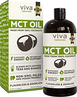 Organic MCT Oil for Morning Coffee - Best MCT Oil Keto Supplement for Sustained Energy, Paleo Diet Certified, 32 fl oz
