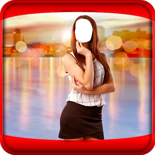 Mädchen kurzes Kleid-Foto-Montage