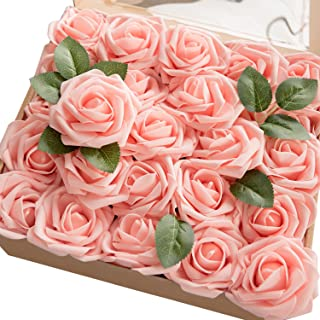 Ling's moment Artificial Flowers 50pcs Real Looking Pink Fake Roses w/Stem for DIY Wedding Bouquets Centerpieces Bridal Shower Party Home Decorations