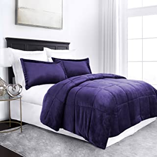 Sleep Restoration Micromink Goose Down Alternative Comforter Set - All Season Hotel Quality Luxury Hypoallergenic Comforter/Blanket with Shams -Full/Queen - Purple