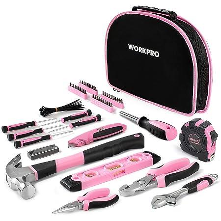 WORKPRO Kit d'Outils Pink Rose 103 Pièces - Sac à Outils pour Madame avec Sac Rond Portable - Outils de Finition Chromée Durable et Résistant - Parfait pour Bricolage, Entretien Domestique