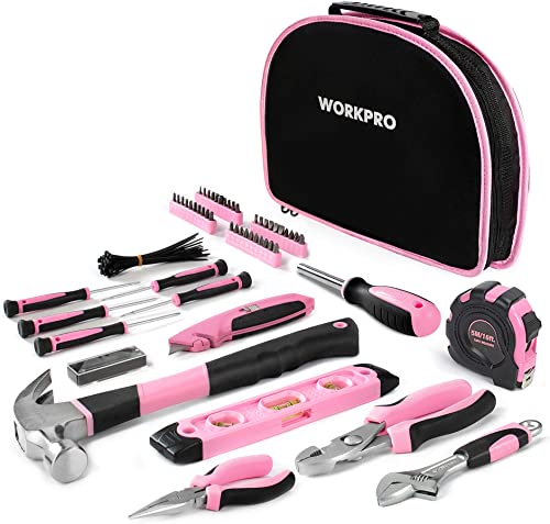 WORKPRO Kit d'Outils Pink Rose 103 Pièces - Sac à Outils pour Madame avec Sac Rond Portable - Outils de Finition Chro...