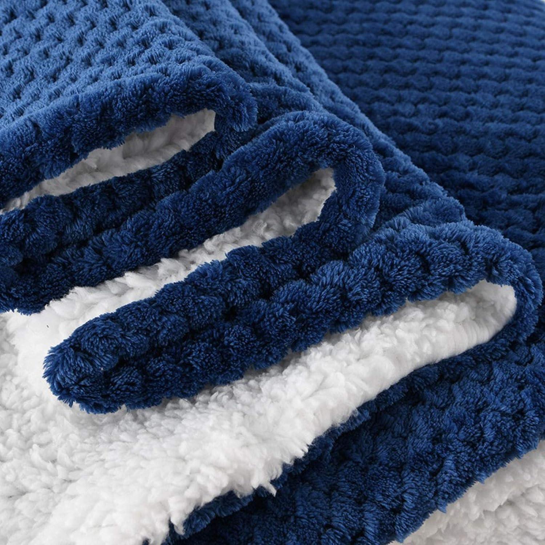 Couverture Polaire Poids léger Taille de Voyage Chaud Doux Jetés de lit pour Couverture en Microfibre de canapé 150 * 120CM Navy Blue