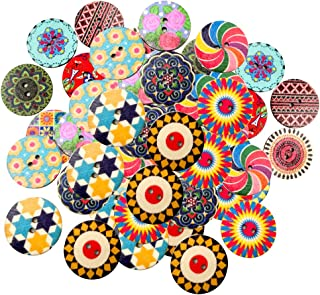 Flameer 100 X Botões De Madeira Redondos Com 2 Furos Que Costuram O Botão De Madeira Decorativo Para Criar