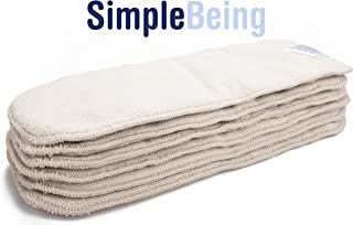Simple Being Reusable Cloth Diaper Inserts 5 Layer Absorbency, Washable Liners (10-Pack), Great for Baby Shower Gift Registry Natural (Microfiber)