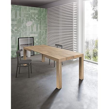 icreo Dionisio Table extensible moderne, finition chêne rustique 140 x 90 x 75 cm avec 2 rallonges 40 cm, extensible à 220 cm, en mélaminé de haute qualité