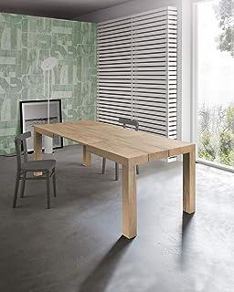 icreo Table extensible moderne, modèle Dionisio finition chêne rustique 140 x 90 x 75 cm avec 2 rallonges 40 cm extensible...