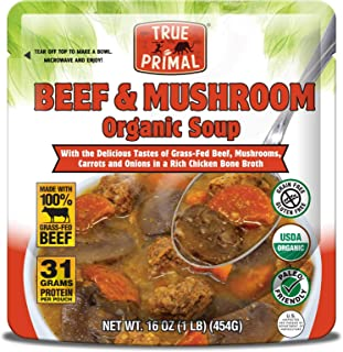 True Primal Beef & Mushroom Organic Soup (Paleo, Gluten-free, Whole30) 10-pack