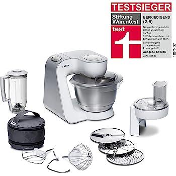 Bosch MUM58W20 - Robot de cocina (3,9 L, Plata, Blanco, Botones, 1,25 L, 1,25 L, 3,9 L): Amazon.es: Hogar