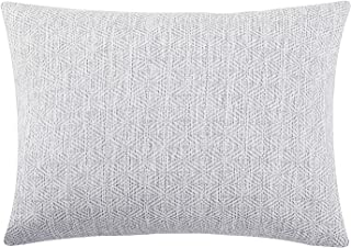 Jepeak Burlap Linen Throw Pillow Cover Rhombus Pattern Cushion Case, Solid Thickened Farmhouse Modern Decorative Rectangular Luxury Pillow Case for Sofa Couch Bed (White/Light Grey, 16 x 24 Inches)
