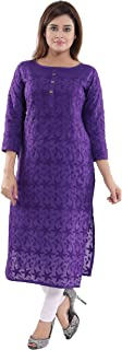 QUEEN SHIELD QueenShield Women's Formal & Casual Cotton Chikan Kurti for All Plus Size and Small Size (34 to 56)