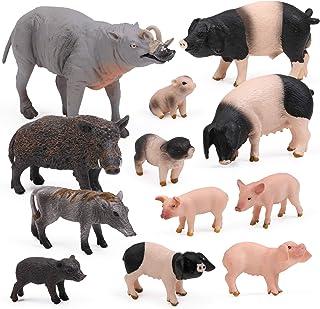 UANDME 12pcs Pig Figurines Farm World Animal Figures, Farm Creatures Figurines, Miniature Toys Cake Toppers Piggy Playset ...