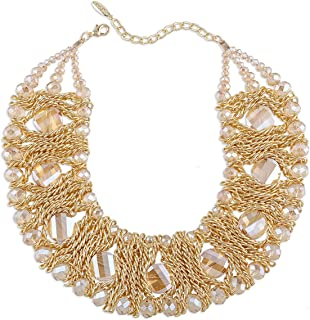 Kaymen Jewelry Gold-Plated Copper Chians Crystal Stone Knit Statement Choker Necklaces Women