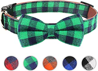 Vaburs Dog Bow Tie, Dog Cat Collar with Bow Tie Buckle Light Plaid Dog Collar for Dogs Cats Pets Soft Comfortable,Adjustable