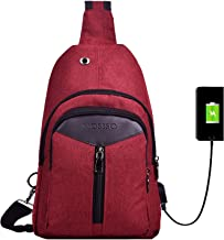 MOSISO Rope Sling Bag Hiking Daypack Unbalance Backpack with USB Charging Port