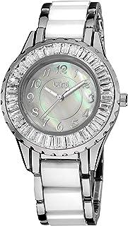 Women's Ceramic Bracelet Watch - Sparkling Baguettes Bezel Mother-of-Pearl Dial, Luminescent Hands - BUR066