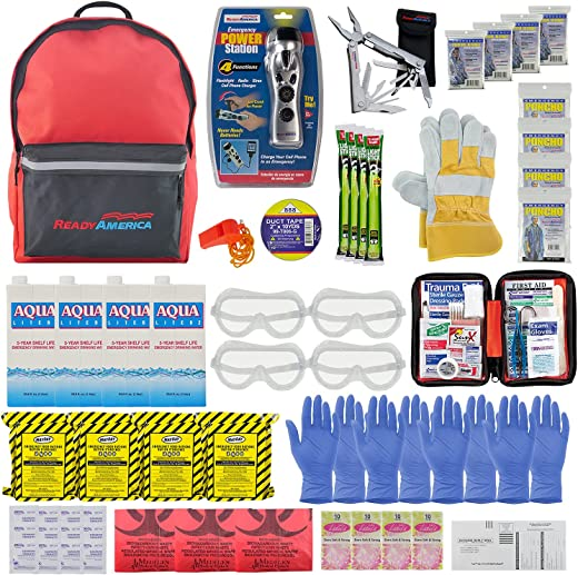 Ready America 70385 72 Hour Deluxe Emergency Kit, 4-Person 3-Day Backpack, First Aid Kit, Survival Blanket, Power Station, Multi Tool, Portable Go-Bag for Camping Car Earthquake Travel Hiking Hunting