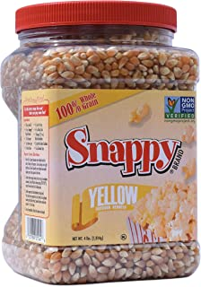 Snappy Yellow Popcorn Kernels , 4lb Resealable Jar
