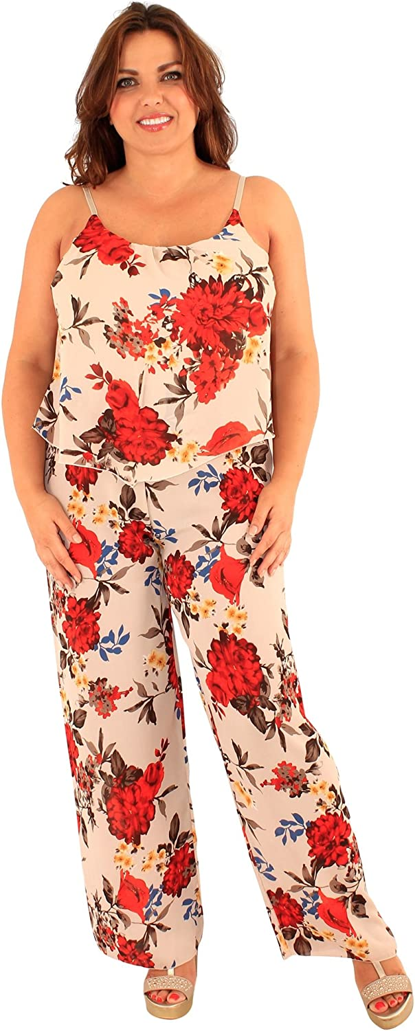 Chocolate Pickle New Womens Floral Print Wide Leg Jumpsuit