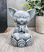 "Ebros Feng Shui Zen Meditating Japanese Jizo Cat Monk On Lotus Throne Mini Statue 4"" Tall Bodhisattva Buddha Talisman of P..."