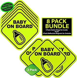 Kickfire 8 Pack Baby on Board Static Cling Safety Stickers for Car | No Glue or Residue | Big Bold Neon Green | Perfect Parent Pack Baby Shower Gift (8 Pack)