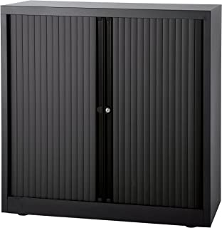 Bisley Armoire à rideaux Euro, largeur 1000 mm, 2 tablettes, noir | ET410102S5633 - Armoire d'atelier Armoire de bureau Ar...