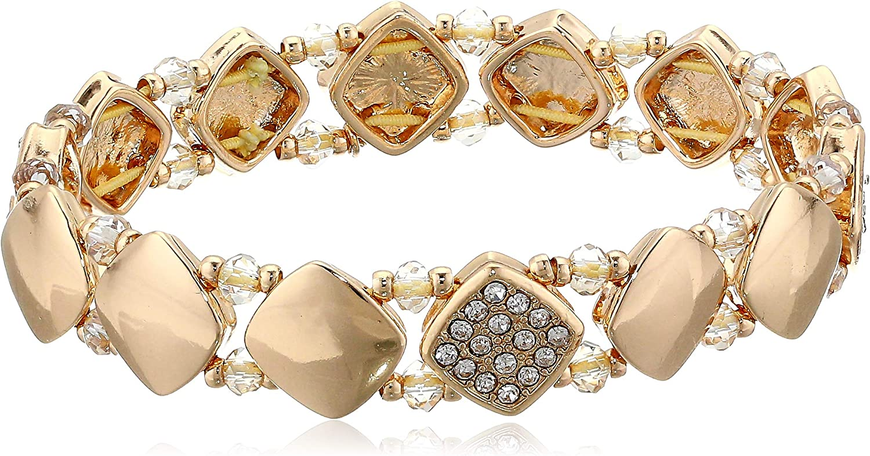 NINE WEST Women's 25% OFF Boxed Stretch specialty shop Bracelet Crystal Gold