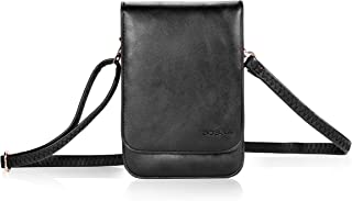 Bosam Iphone 11 pro max xs 8 plus purses, Soft Leather Cellphone-Bags-Crossbody-for-woman with Shoulder Strap Touch View Window (Black)