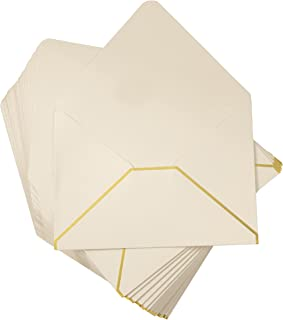 A7 Luxurious Envelope - 50-Pack Invitation Envelopes with Lined Gold Foil Rims, 5 x 7 Gummed Seal V-Flap Invite Envelope for Wedding, Graduation, Birthday, 250gsm, 5.25 x 7.25 inches, Ivory