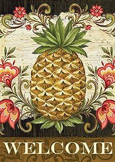 "Toland Home Garden 111163 Pineapple & Scrolls 12.5 x 18 Inch Decorative, (12.5"" x 18""), Double Sided Garden Flag"
