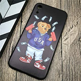 Bear Phone case for iPhone X XS MAX XR Italy Luxury Bear GG Soft Phone Cover case for iPhone 8 7 6 6S Plus 3D Relief Silicon Fashion Couple Coque fundas (5, iPhone XR)