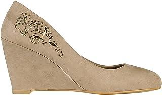 KRISP Women Plain Low Mid High Heel Wedge Slip On Pumps Court Shoes