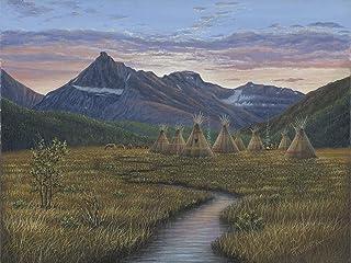 buyartforless Quiet Evening by Robert Wavra 18x24 Landscape Graphic Art Canvas, Brown