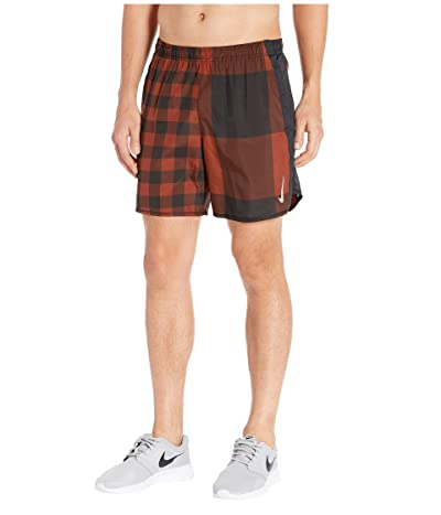 Nike 7 Challenger Shorts Brief Windrunner Pull-On (Cinnamon/Black/Reflective Silver) Men