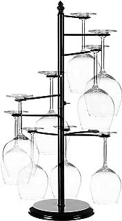 MyGift Freestanding Tabletop Stemware Rack/Spiraling 10 Wine Glass Holder, Black