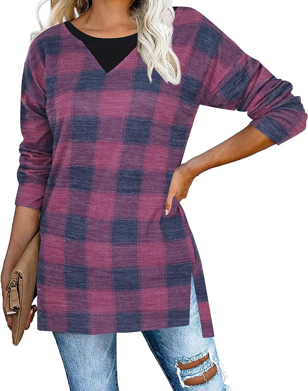 VILOVE Womens Tunic Tops for Leggings Loose Plaid Shirt Splicing V Neck Top