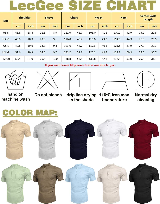 LecGee Men's Cotton Linen Henley Shirt Long Sleeve Casual T-Shirt Beach Yoga Tops