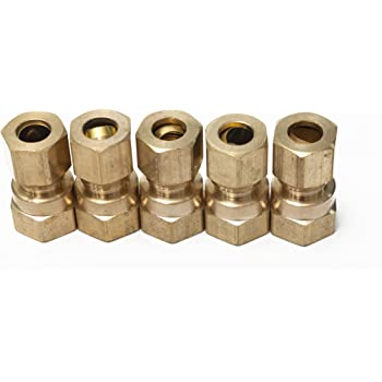 Union 1//8 OD x 1//8 OD Vis Brass Compression Tube Fitting Pack of 5