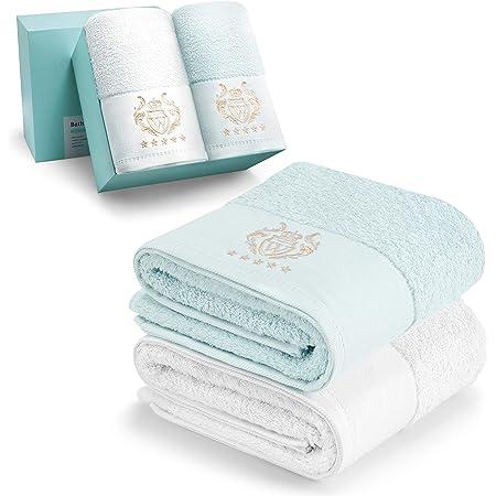 WIIKWEEK Bath Towels,100% Cotton Bath Towels 27x54 in Large Soft Plush Absorbent Towel for Bathroom