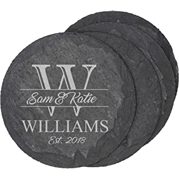 Amazon Com Monogram Wood Coasters For Drinks Personalized Wedding Gifts Bridal Shower Gifts Set Of 2 Jenson Design Coasters