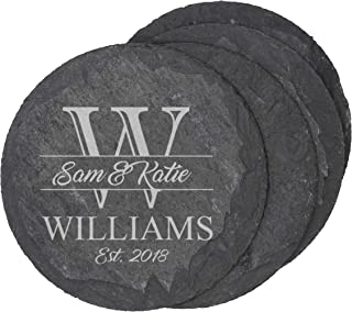 Custom Engraved Slate Coasters - Monogrammed Coaster Set for Drinks, Weddings, Couples, Anniversaries, Gifts - Personalized for Free (Round Slate)