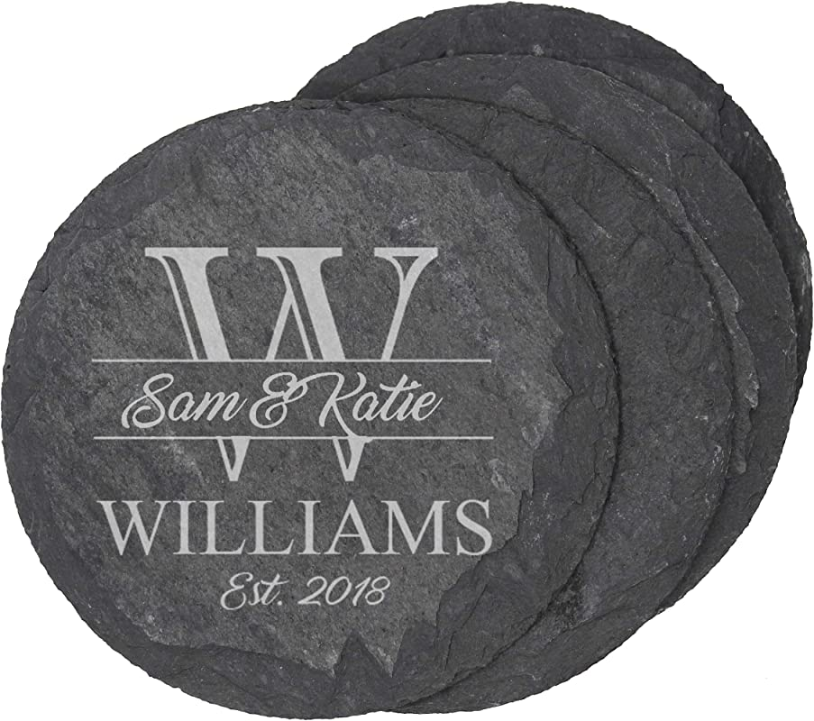 Custom Engraved Slate Coasters Monogrammed Coaster Set For Drinks Weddings Couples Anniversaries Gifts Personalized For Free Round Slate