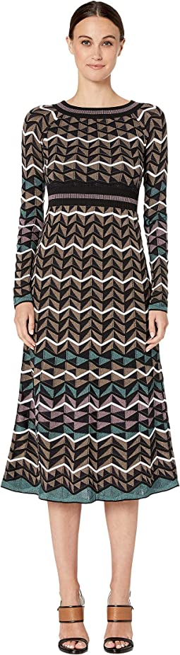 Long Sleeve Midid Dress in Zigzag Stitch