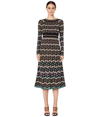 M Missoni Long Sleeve Midid Dress in Zigzag Stitch (Blue) Women