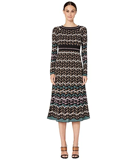 M Missoni Long Sleeve Midid Dress in Zigzag Stitch