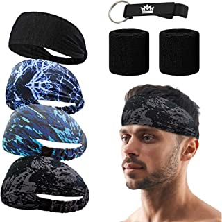 MEJAWDA 4 Pack Sports Headband Double Sleeved Soft and Stretchy with 2 x Double Sleeved Wrist Sweatband Supports Plus Bonu...